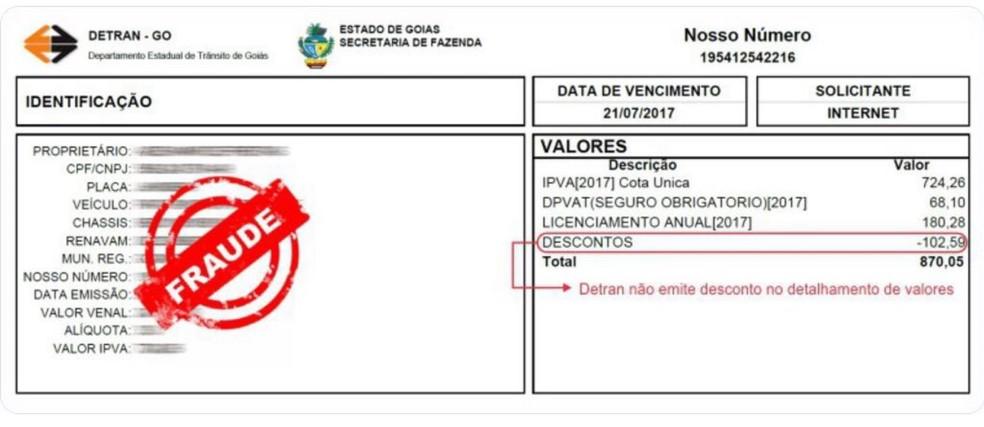8a11c1b3c3 Boleto falso apresenta detalhes e bancos direrentes do oficial do Detran-GO  (Foto