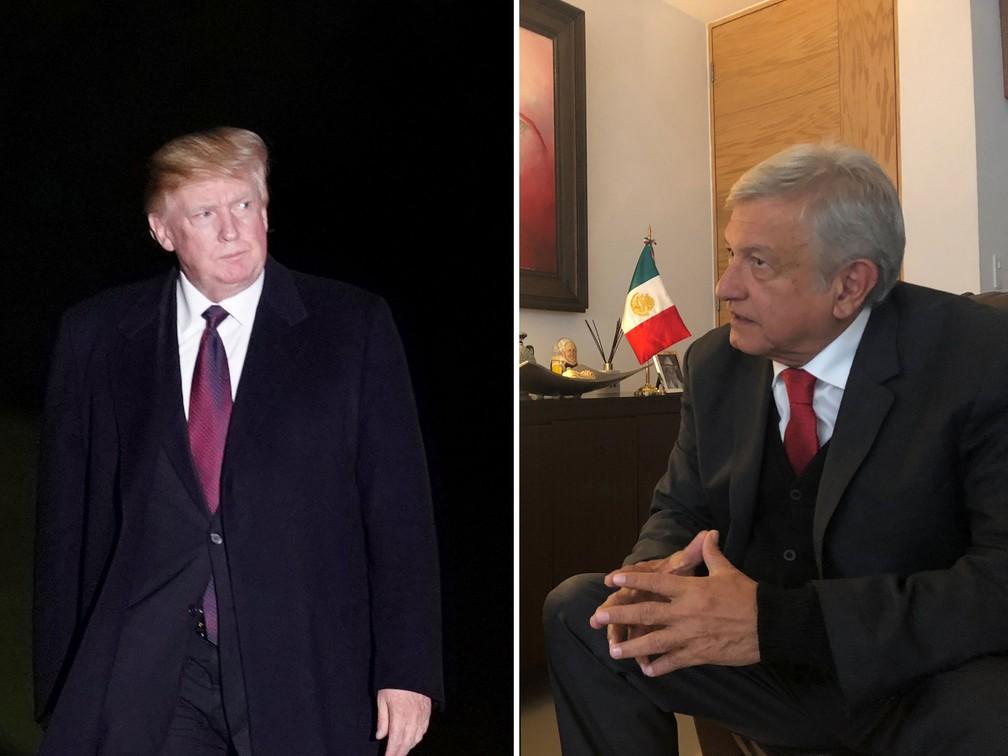 Donald Trump e López Obrador — Foto: Reuters/Yuri Gripas e Divukgação/López Obrador via Reuters