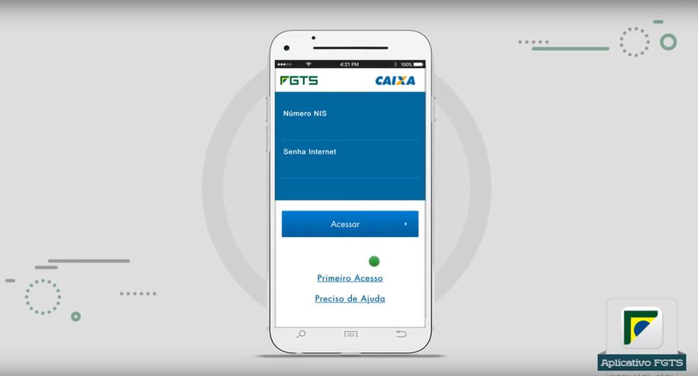 Primeira tela de acesso do aplicativo FGTS — Foto: Reprodução/Caixa
