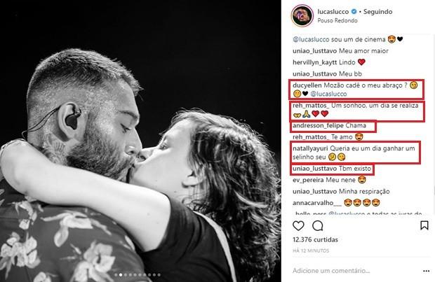 Lucas Lucco dá selinho em fã (Foto: Reprodução/Instagram)