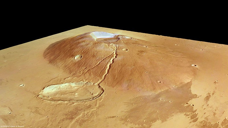 Vulcão Ceraunius Tholus, localizado no quadrângulo de Tharsis em Marte (Foto: ESA/DLR/FU Berlin (G. Neukum)/Wikimedia Commons)