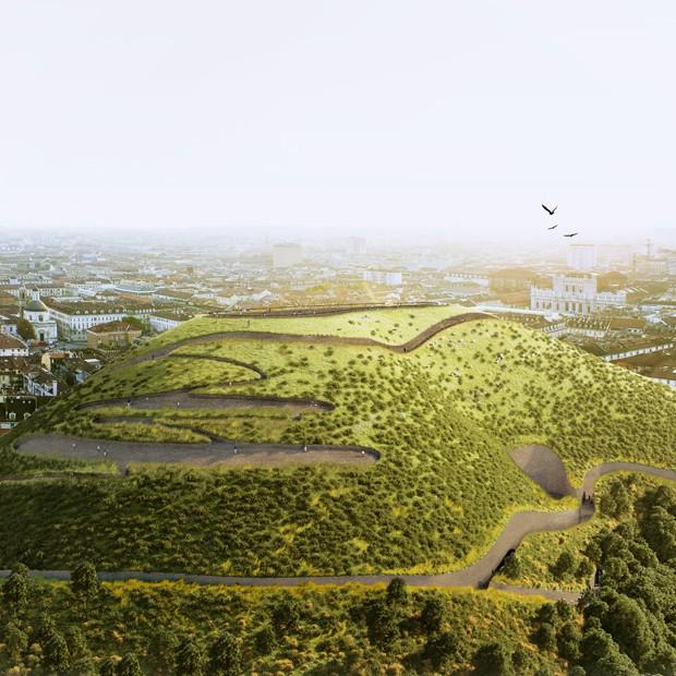 Arquiteto cria montanha artificial capaz de purificar o ar (Foto: Divulgação)