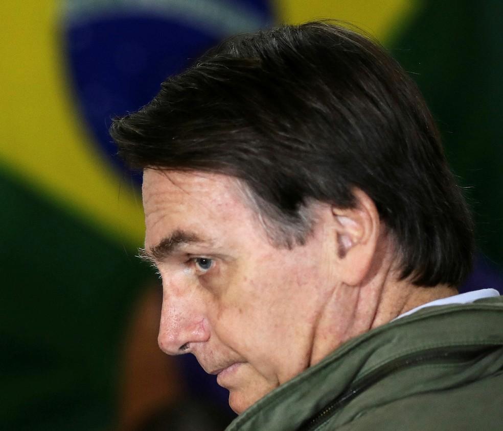 O presidente eleito, Jair Bolsonaro, durante a votação no último domingo (28) — Foto: Ricardo Moraes/Pool/Reuters