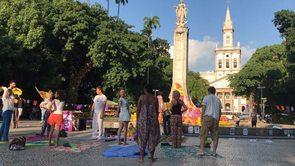 Largo do Machado também tem ato em homenagem a Marielle (Foto: Raquel Honorato/TV Globo)