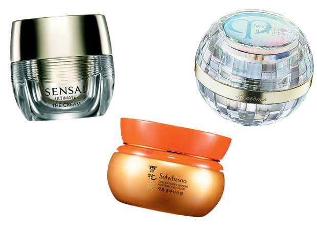 Sensai Ultimate The Cream, US$ 740, Kanebo; Concentrated Ginseng renewing Cream, US$ 180, Sulwhasoo; Beauté La Crème, US$ 775, Clé de Peau (Foto: Reprodução)