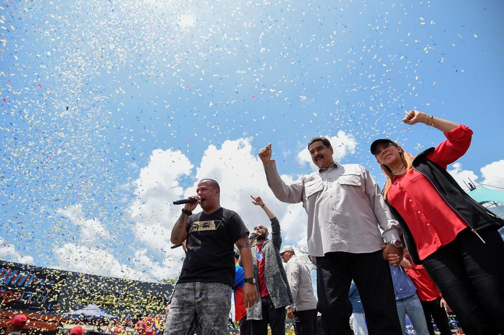 -  Nicolás Maduro em campanha em Charallave, nesta terça  15   Foto: AFP/Juan Barreto