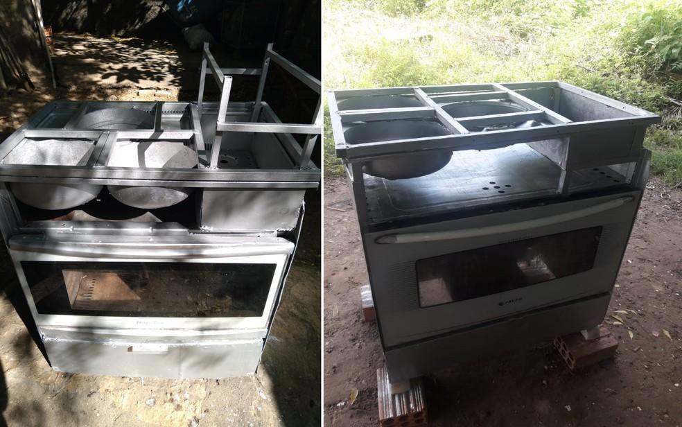 Carvão adaptado custa R$ 250 e pode usar carvão ou lenha — Foto: Arquivo Pessoal/Cícero Romão
