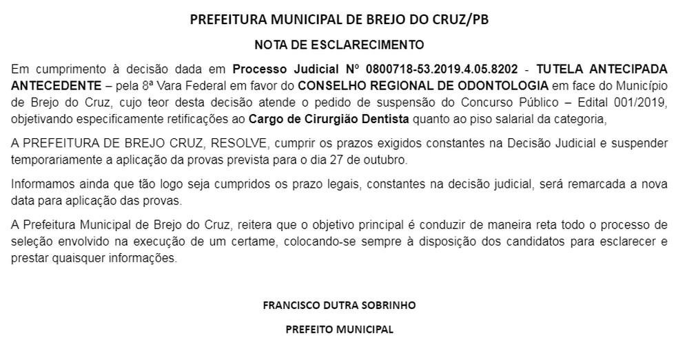 Em nota, o prefeito de Brejo do Cruz, Francisco Dutra Sobrinho, informou que as provas ainda não têm data para acontecer — Foto: Prefeitura de Brejo do Cruz/Divulgação