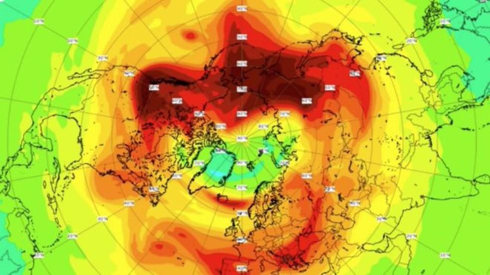 O buraco na camada de ozônio antes de se fechar — Foto: CAMS