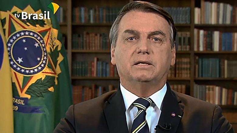 Jair Bolsonaro, em pronunciamento gravado à ONU (Foto: TV Brasil)