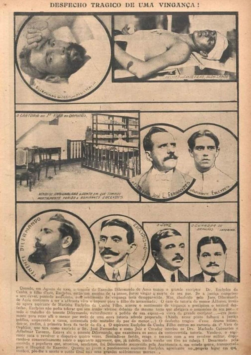 """A morte de Euclides da Cunha Filho retratada na revista """"O Malho"""", em julho de 1916 — Foto: Fundação Biblioteca Naciona/BN Digital"""
