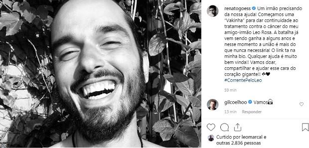 Post de Renato Góes para ajudar Leo Rosa (Foto: Reprodução/Instagram)