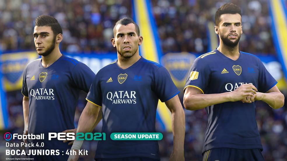 Uniforme 4 do Boca Juniors no DLC 4.0 do eFootball PES 2021 — Foto: Divulgação / Konami