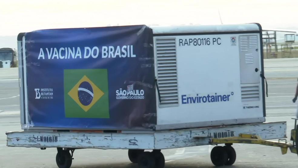 Novo lote com insumo da CoronaVac chega a SP nesta quinta — Foto: Reprodução/TV Globo