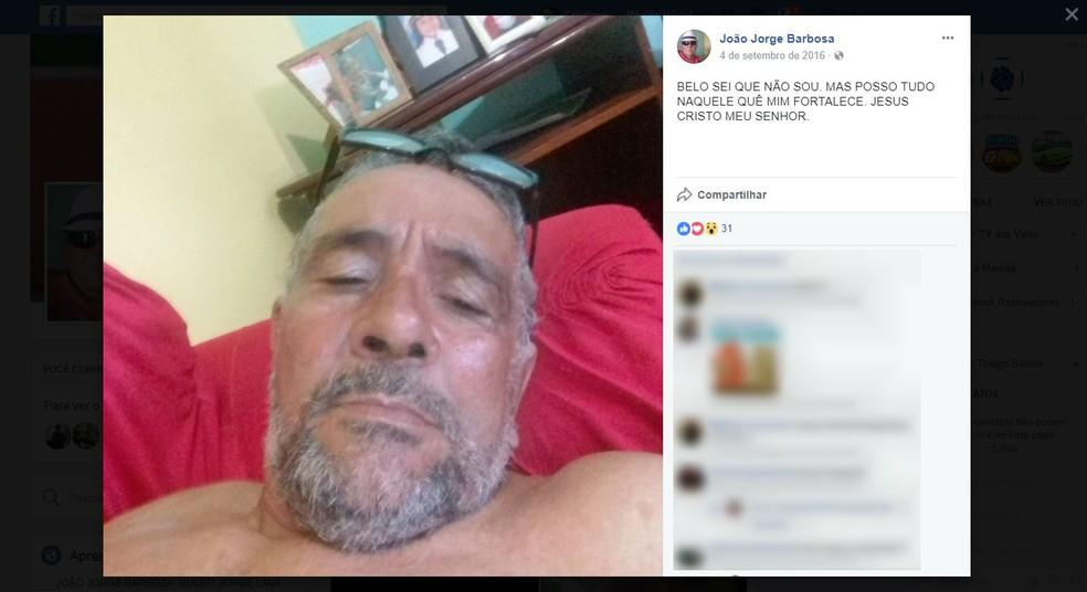 João Jorge Barbosa morreu após ser atingido por sete tiros (Foto: Reprodução / Facebook)