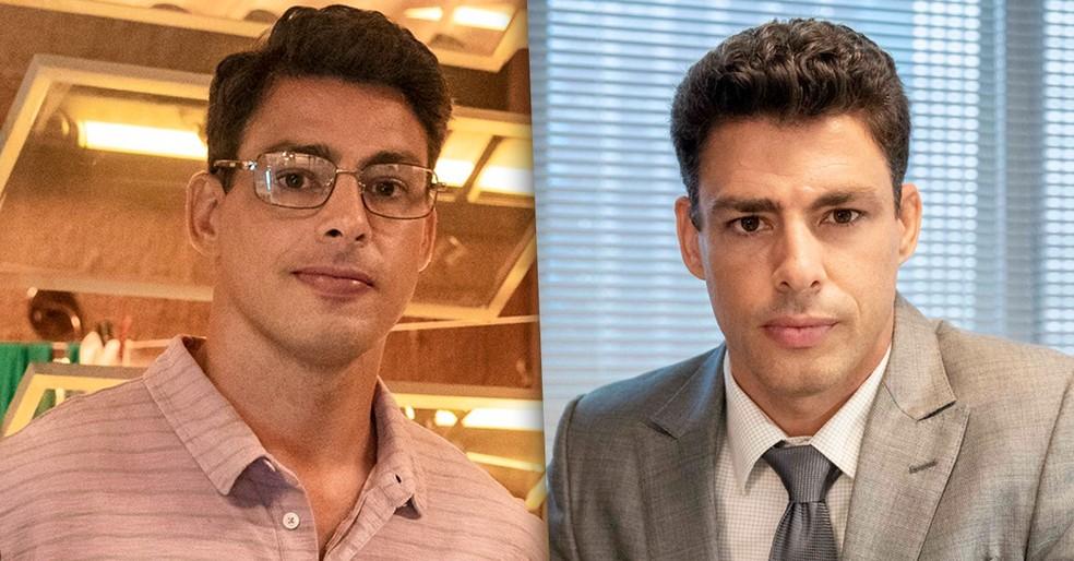 Christian antes e depois de assumir o lugar de Renato em 'Um Lugar ao Sol' — Foto: Globo/Fábio Rocha