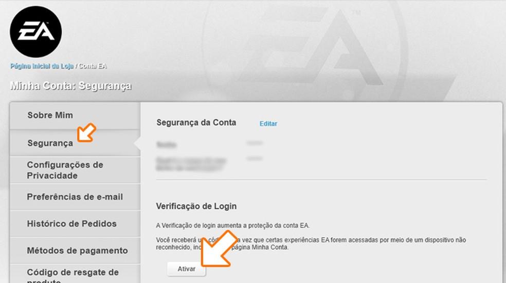 """Na página a seguir clique em """"Segurança"""" e depois em """"Ativar"""" na """"Verificação de Login"""" — Foto: Reprodução/Rafael Monteiro"""