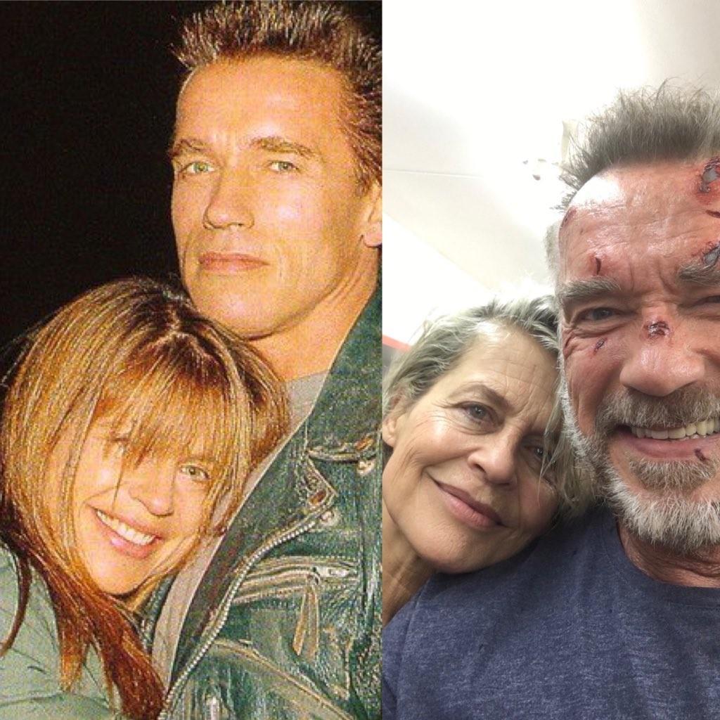 Arnold Schwarzenegger e Linda Hamilton (Foto: Twitter)