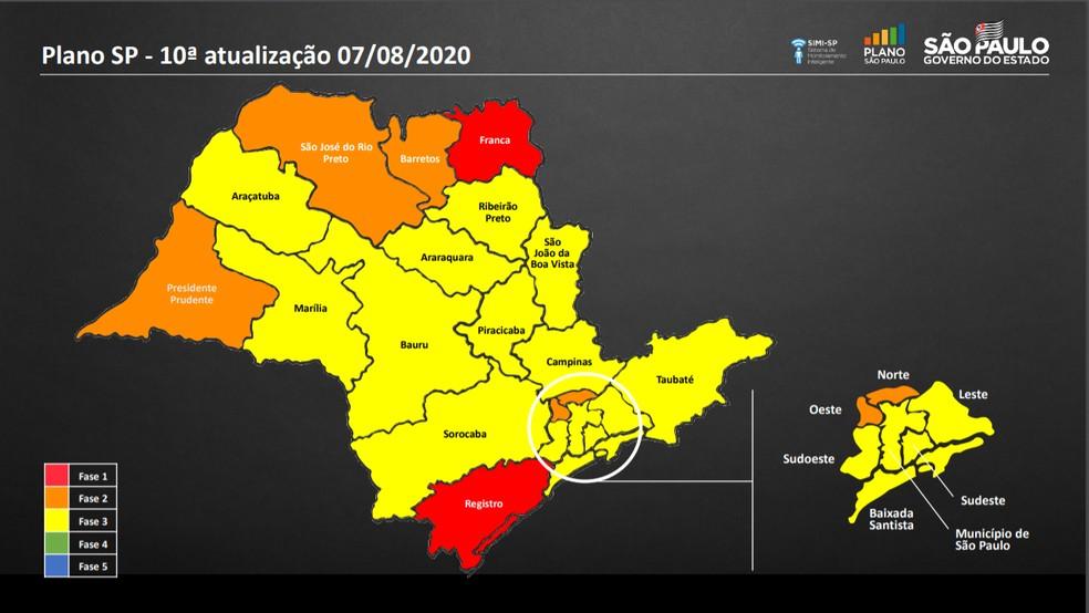Atualização do Plano São Paulo nesta sexta-feira (7 de agosto). — Foto: Divulgação/Governo de SP