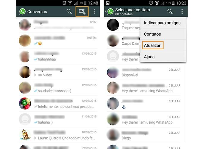 No Android é possível atualizar a lista de contatos do WhatsApp (Foto: Reprodução/Barbara Mannara)