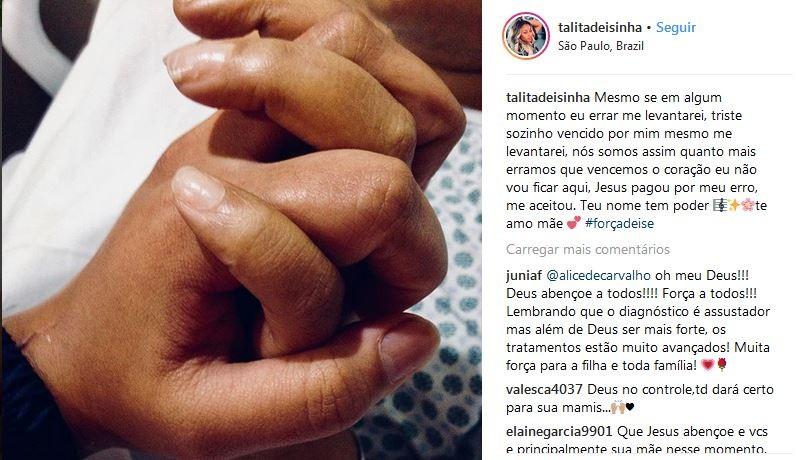 Talita escreveu mensagem de apoio para a mãe (Foto: Reprodução/Instagram)