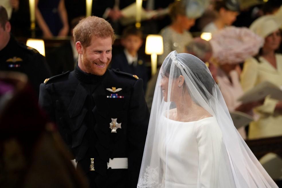Príncipe Harry e Meghan Markle no altar  (Foto: Jonathan Brady/Pool via Reuters)