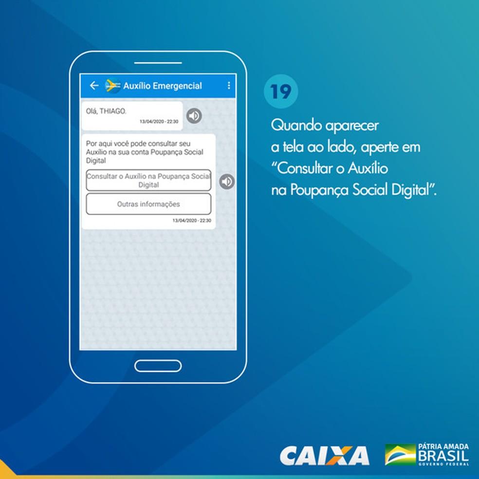 Tela 19 para pedir abertura da poupança social digital — Foto: Divulgação Caixa