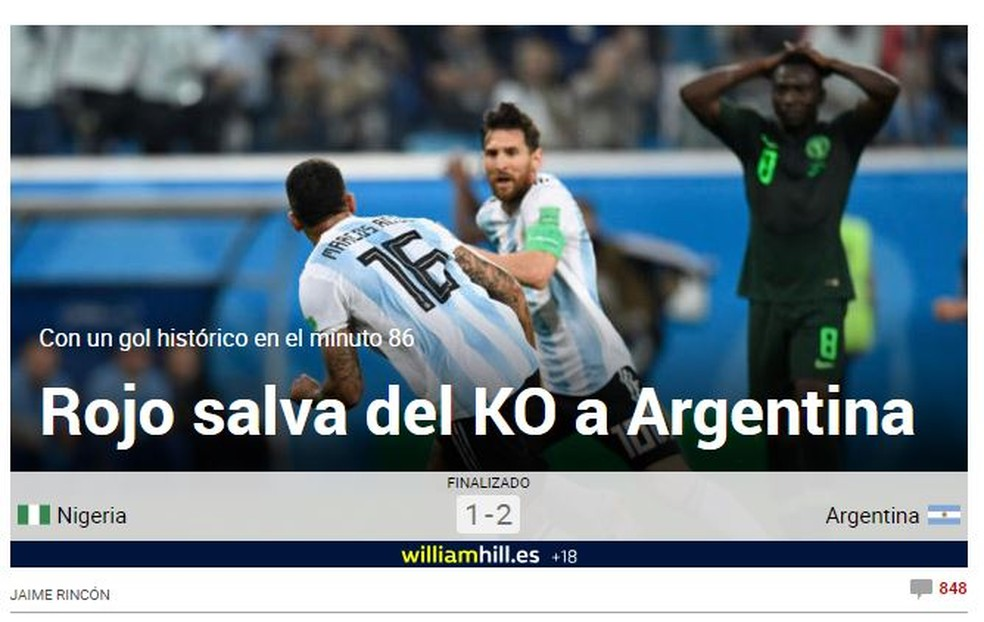 Marca Argentina x Nigéria (Foto: Reprodução)