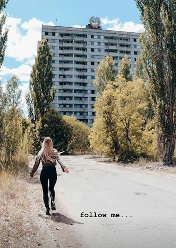 Uma das fotos que causou polêmica de uma influenciadora digital em Chernobyl (Foto: Instagram)