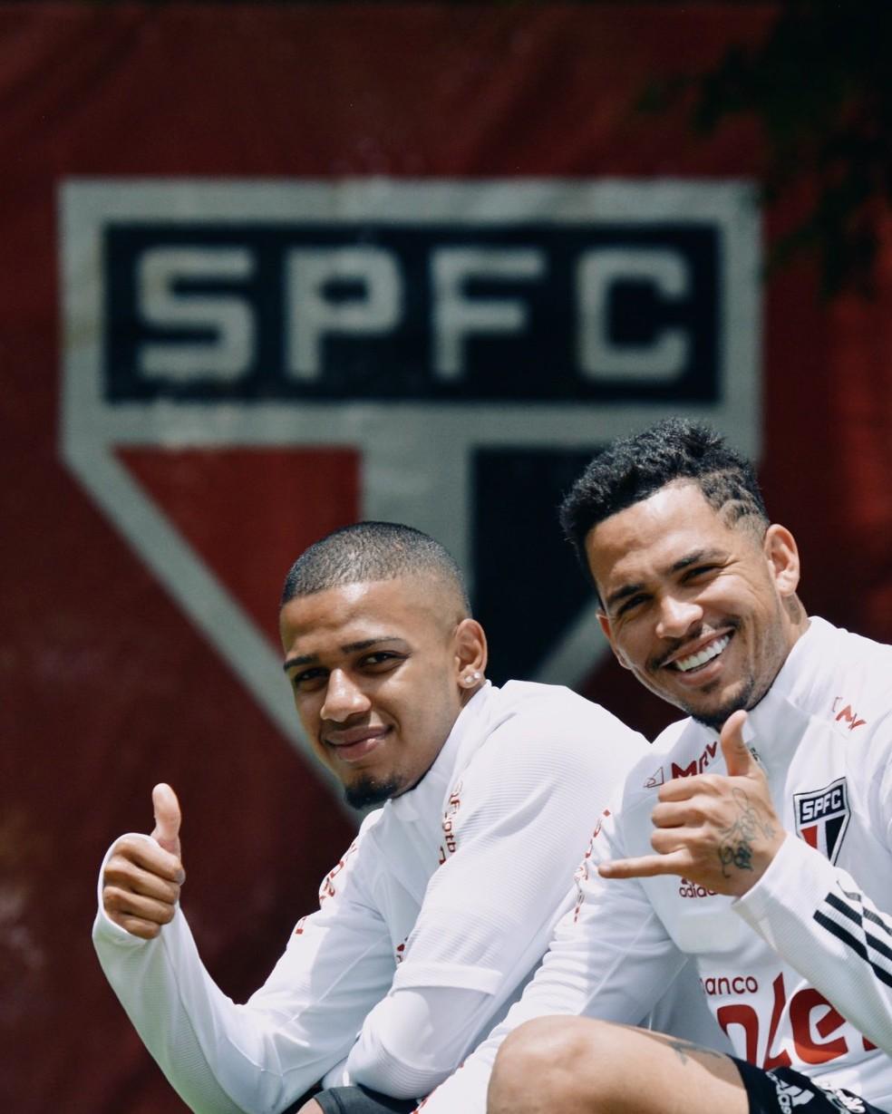 Brenner e Luciano em treino do São Paulo — Foto: Erico Leonan / saopaulofc.net