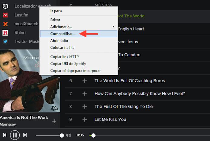 Acessando a ferramenta de compartilhamento do Spotify no Windows (Foto: Reprodução/Marvin Costa)