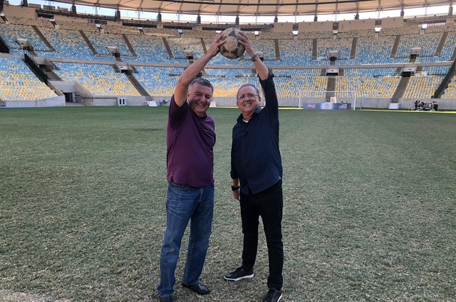 Arnaldo Cezar Coelho e Galvão Bueno (Foto: Globo/ Sidney Garambone)