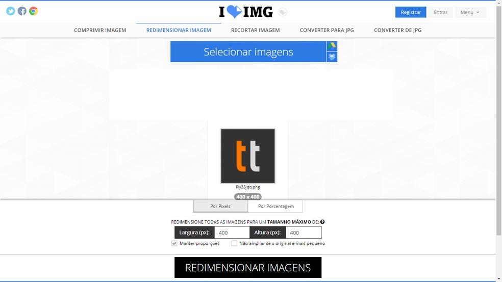 I Love IMG: redimensione, recorte e converta imagens (Foto: Reprodução/Bruno Soares)