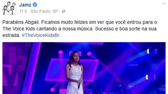 Jamz manda dica para Abgail Barcelos após Audição no 'The Voice Kids': 'Faça o que acredita'