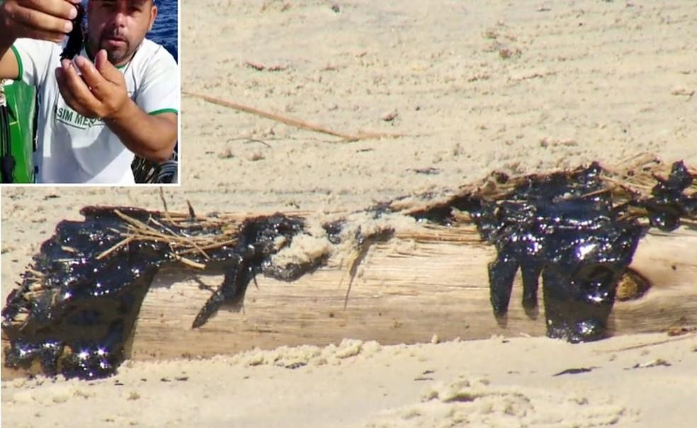 Óleo denso gruda e contamina redes de pesca — Foto: Reprodução Inter TV RJ
