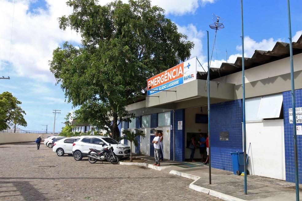 Entrada do Hospital Eládio Lasserre, no bairro de Cajazeiras, que registrou 100% de ocupação dos leitos de UTI adulto, nesta segunda (24) — Foto: Divulgação/Sesab
