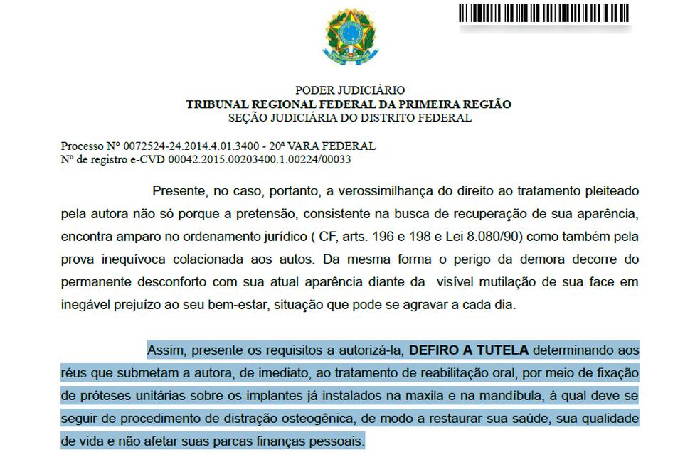 Trecho de decisão, de 2015, proferida por juíza federal sobre caso da paciente Geruza Oliveira (Foto: TRF1/Reprodução)