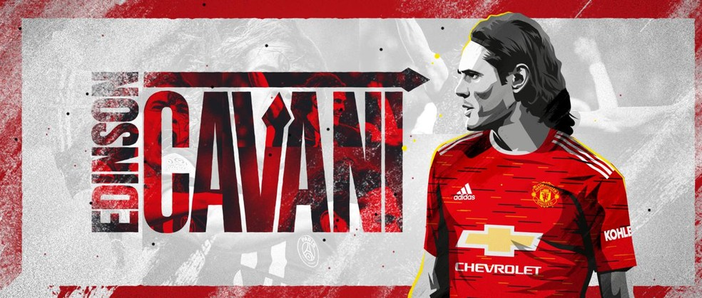 Montagem de Cavani com a camisa do Manchester United no site oficial do clube inglês — Foto: Reprodução / Site Oficial