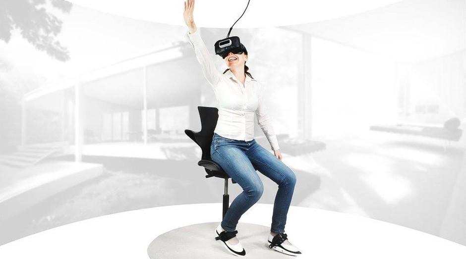 Cybershoes: sapatos permitem que jogadores se movimentem em games de realidade virtual de forma mais barata (Foto: Divulgação)
