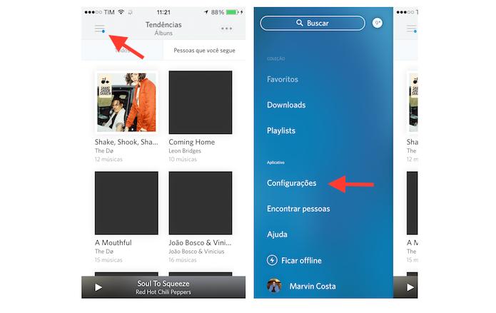 Acessando as configurações do Rdio no iPhone (Foto: Reprodução/Marvin Costa)