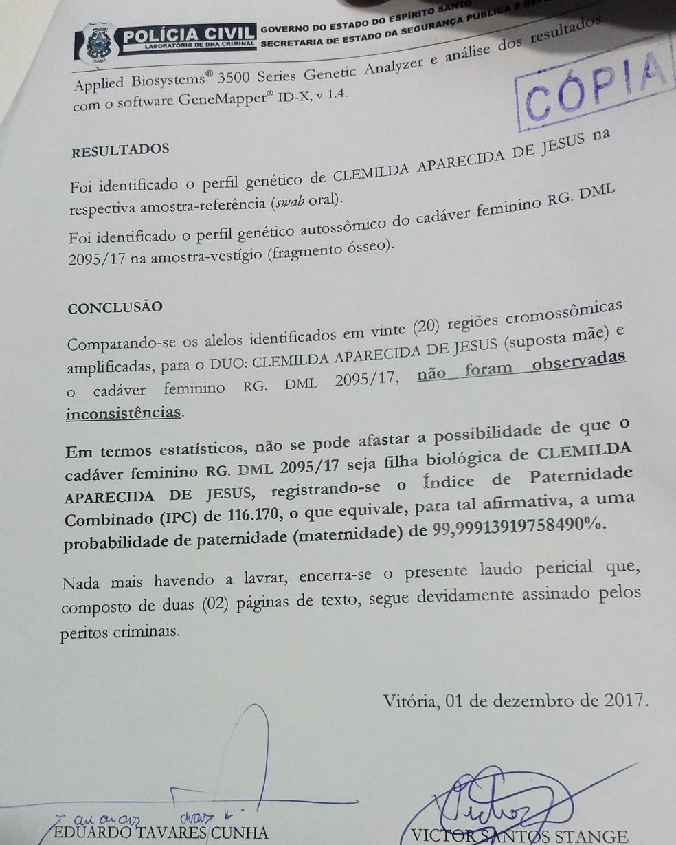 Laudo de exame de DNA de ossada encontrada em Viana (Foto: Manoela Albuquerque / G1)