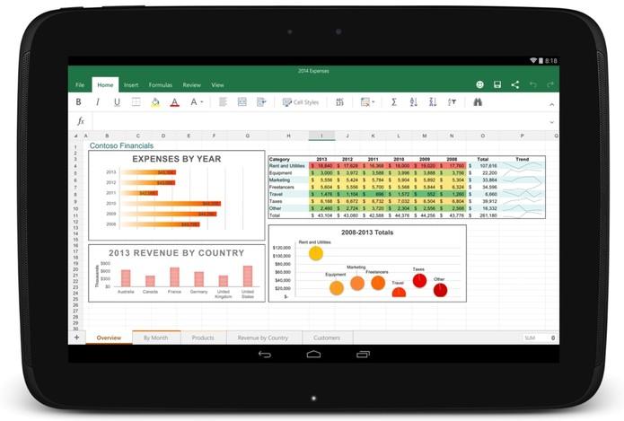 Excel também está para tablets e smartphones Android. (Foto: Divulgação)