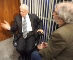 Geneton Moraes Neto entrevista o senador Pedro Simon no 'Dossiê GloboNews' | Divulgação