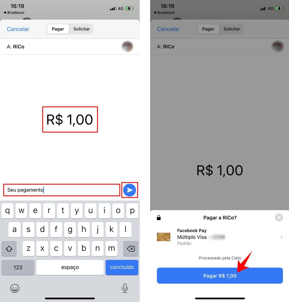 Veja como enviar dinheiro pelo WhatsApp no iPhone — Foto: Reprodução/Rodrigo Fernandes