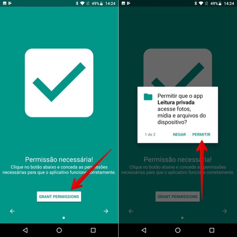 Autorize o acesso do Private Read aos arquivos do seu celular — Foto: Reprodução/Helito Beggiora