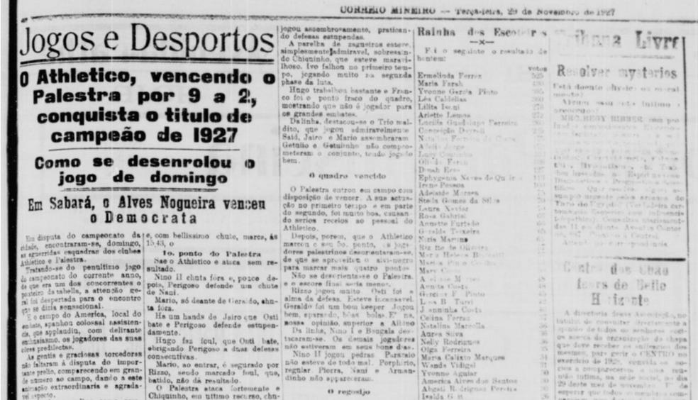"""Pedaço do jornal """"Correio Mineiro"""" - reportagem pós-jogo — Foto: Reprodução/Correio Mineiro"""