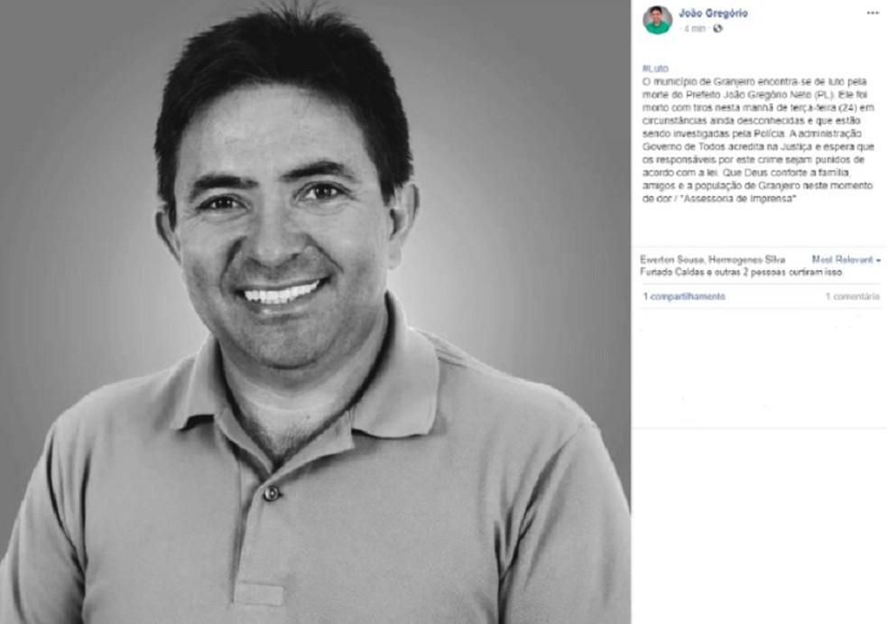 Assessoria da prefeitura de Granjeiro confirmou a morte do gestor municipal. — Foto: Reprodução/Prefeitura de Granjeiro