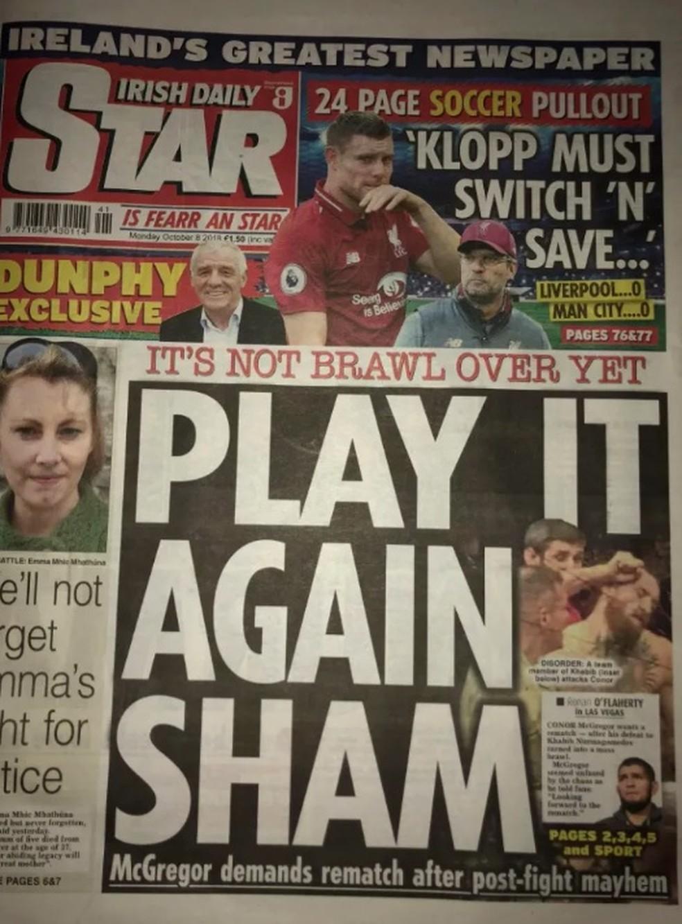 Capa do jornal Irish Daily Star nesta segunda-feira — Foto: Reprodução/MMA Fighting