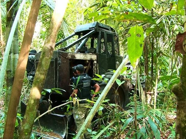 Trator foi achado por fiscais escondidos no meio da mata (Foto: Willian Andrade/ Rede Amazônica)