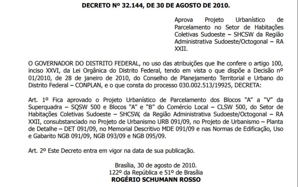 Decreto de criação da quadra 500 do Sudoeste, assinado em 2010 (Foto: Reprodução)